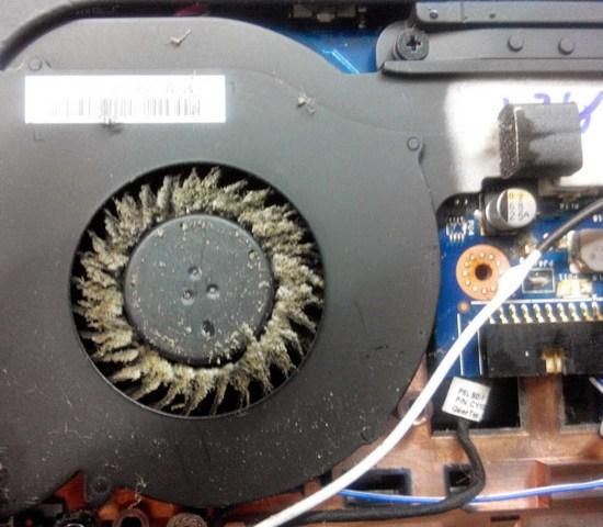 Вентилятор забит пылью